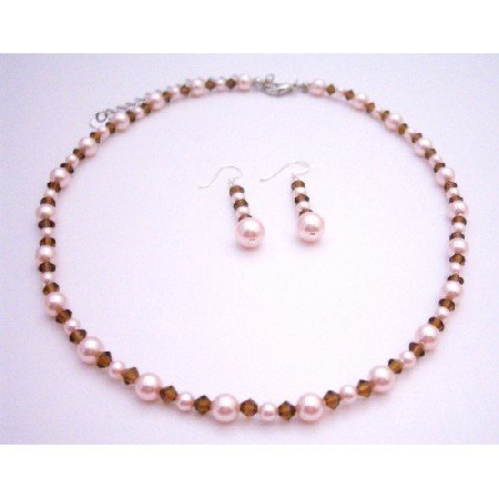 BRD063  Handcrafted Genuine Swarovski Rose Pink Pearls & Smoked Topaz Crystals Necklace Set