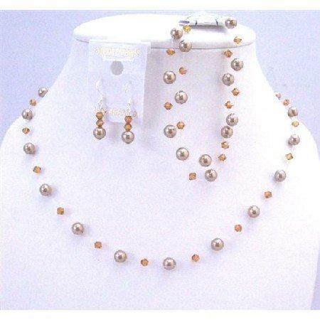 BRD066  Brilliant Swarovski Bronze Pearls & Copper Crystals Wedding Party Jewelry w/ Bracelet