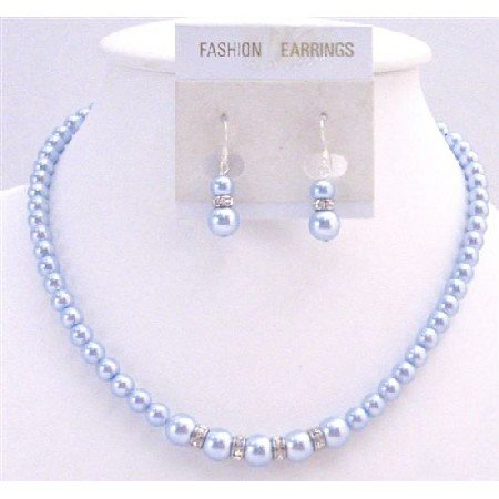 BRD068  Customized Bridal Wedding Blue Pearls Necklace Blue Gorgeous Jewelry