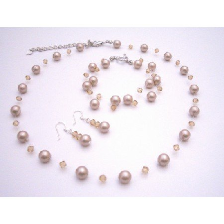BRD070 Platinum Champagne Pearls Crystals Necklace & Earrings Wedding Jewelry