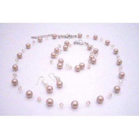 BRD071  Swarovski Golden Shadow With Platinum Champagne Pearls Jewelry Set