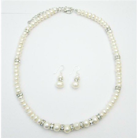 BRD072  Freshwater Pearls Jewelry With Silver Rondells Necklace Set Absolutely Stunning Jewelry