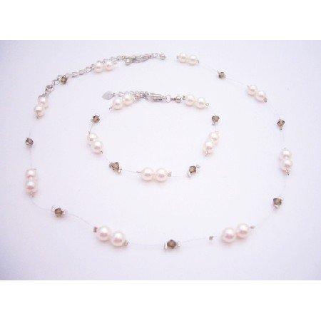 BRD075  Stylish Jewelry For Flower Girls Ivory Pearls & Smoky Quartz Swarovski Crystals