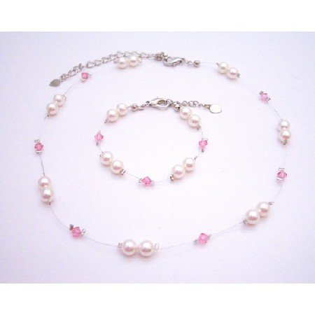 BRD076 Wedding Jewelry Genuine Swarovski Rose Pearls & Crystals Necklace & Bracelet