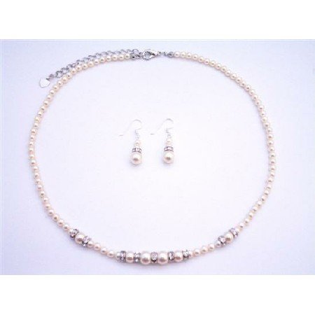 BRD077  Dainty Tiny Ivory Pearls Necklace Set With Silver Rondells Spacer