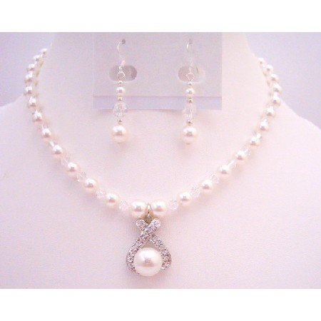 BRD082  Pure White Pearls Jewelry With Clear Crystals Drop Down Pendant Set
