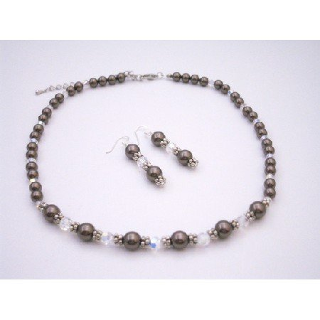 BRD083  Gift Bridemaids Shower Wedding Prom Jewelry Brown Pearls W/ AB Crystals
