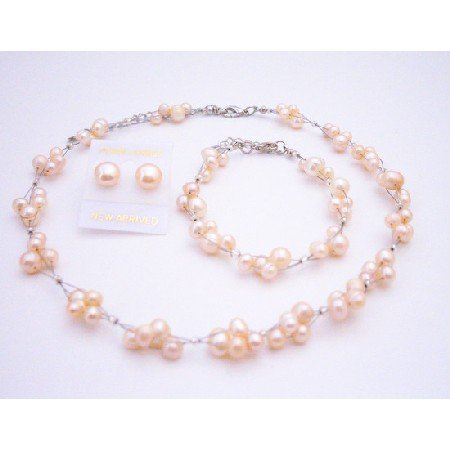 BRD084  Shop Stylish Wedding Shower Gifts Peach Freshwater Pearls Necklace Set