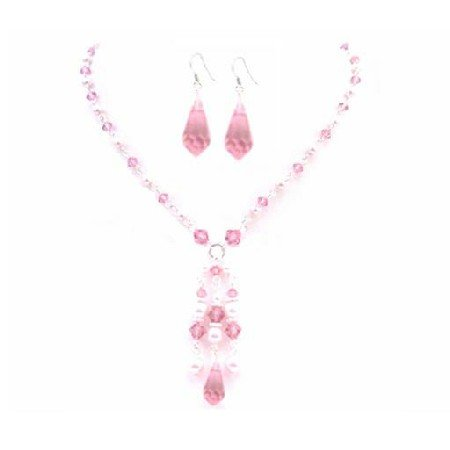 BRD018  Swarovski Rose Crystals Pink Pearls Party Wedding All Occasion Jewelry