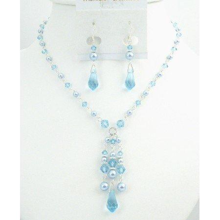 BRD019  Prom Jewelry Very Beautiful Blue Pearls & Aquamarine Crystals Jewelry
