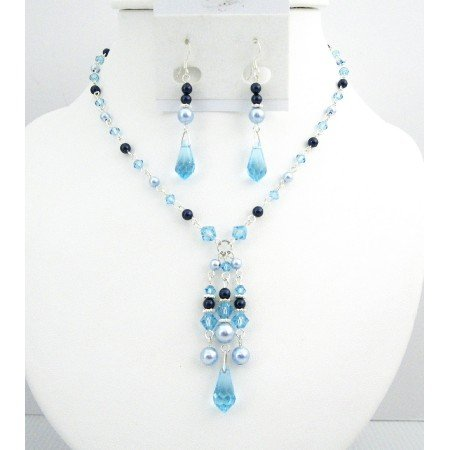 BRD020  Lite Blue Dark Blue Pearls Aquamarine Crystals Prom Swarovski Jewelry