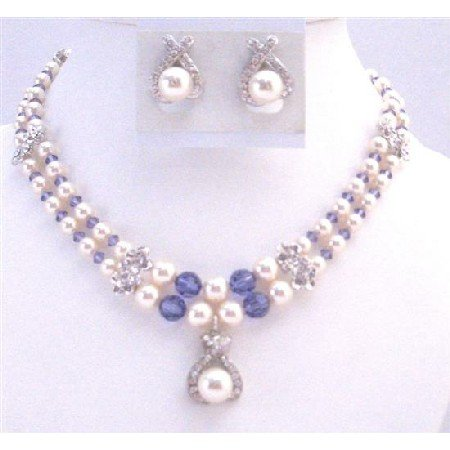 BRD022  Mother Of Bride Jewelry Double Stranded Necklace Swarovski Ivory Pearl