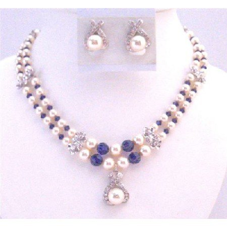 BRD023  Gift For Mother Double Stranded Necklace Swarovski Ivory Pearls Purple