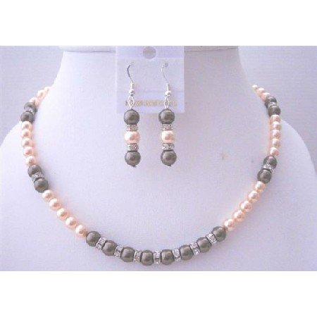 BRD027  Peach Chocolate Brown Swarovski Pearls Necklace Bridal Wedding Jewelry