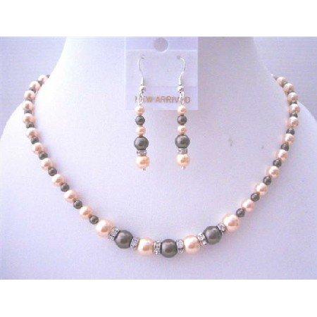 BRD028  Dark Chocolate Peach Pearls Silver Rondells Spacer Wedding Jewelry Set