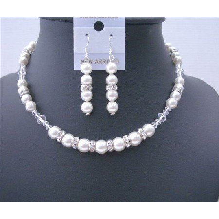 BRD478  Big Pearls 10mm White Pearls Silver Rondells & Clear Crystals Jewelry