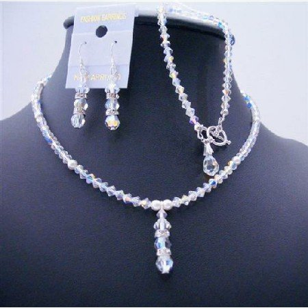 BRD480  AB Crystals White Pearls Drop Down Complete Set Sleek Party Jewelry