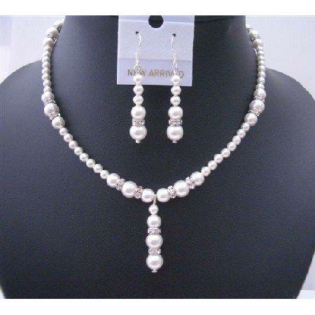 BRD481  White Pearls Jewelry Drop Down w/ Silver Rondells Perfect Wedding Set