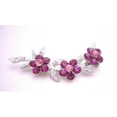 B411  Fuschia & Rose Crystals Flower Silver Tone Brooch Dress Brooch