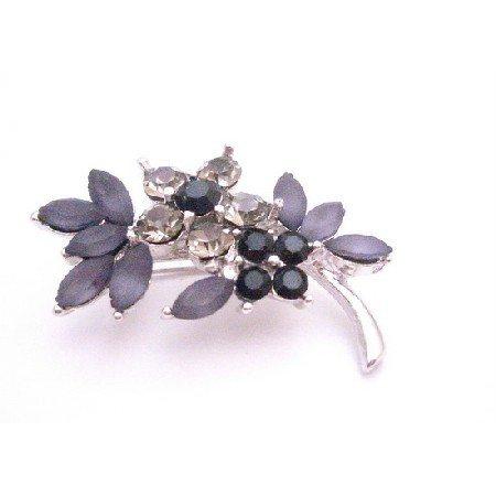B413  Bridemaids Jet Black Diamond Crystals Flower Silver Tone Dress Brooch