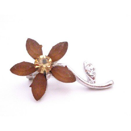 B415  Smoked Topaz Flower Brooch With Silver Stem Brooch Pin
