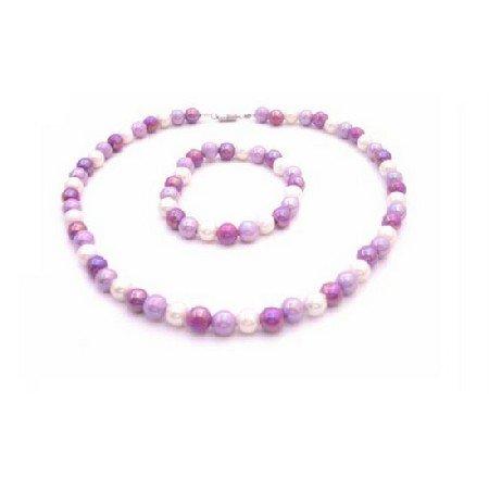 GC190  Flower Girl Lavender Purple & White Beads Tricolor Necklace & Bracelet