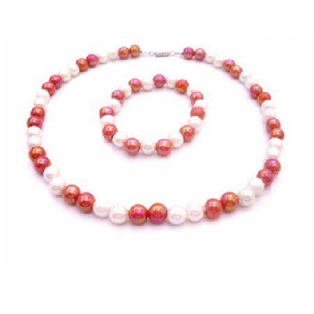 GC191  Return Gift Jewelry Set Necklace & Bracelet Red & White Beads