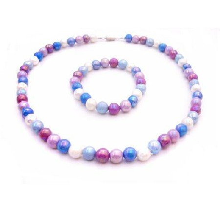 GC192  Girls Return Gift Multicolor Beads Necklace Stretchable Bracelet