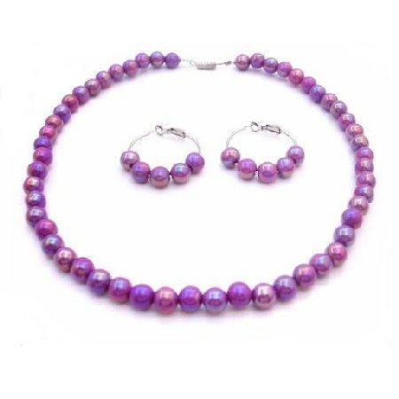 GC194  Purple Dress Girls Jewelry Flower Girls Necklace Set Purple Set