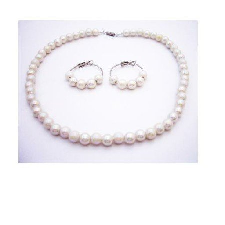 GC196  Flower Girl Ivory Beads Necklace Set Jewelry Set