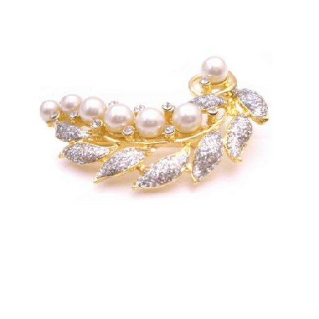 B422  Vintage Brooch Gold Leaf Decorated With Pearls & Cubic zircon Diamante Classy Style
