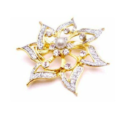 B424  Bridemaids Dress Brooch Gold Flower Diamante & Pearls Confetti Brooch