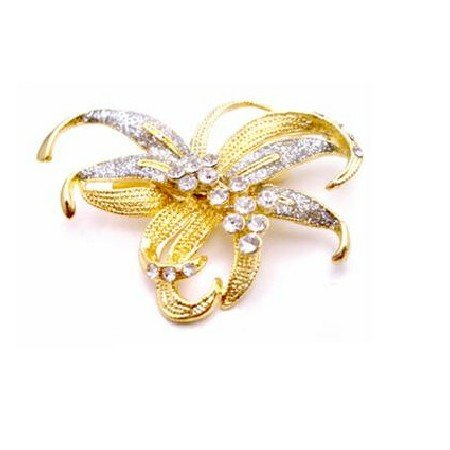 B425  Sashes Brooch Artistically Designed Gold Bow Brooch
