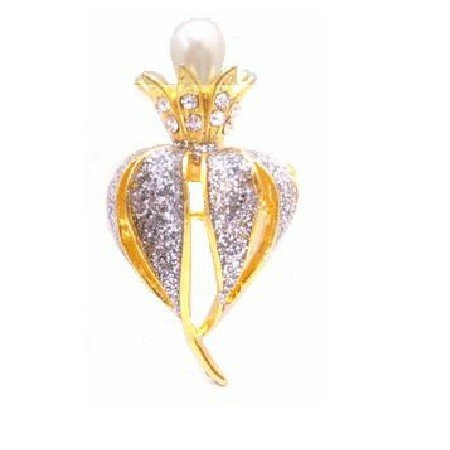 B427  Brooch With Blooming Pearls Bud & Decorated With Cubic Zircon & Crystals Brooch