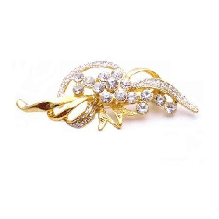 B428  Vintage Brooch Gold Leaf Decorated With Pearls & Cubic zircon Diamante Classy Style