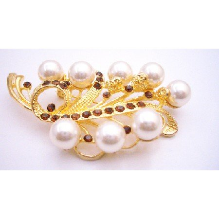 B432  Wedding Brooch In Gold With Ivory Pearls & Smoked Topaz Crystals
