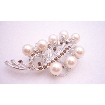 B433 Silver Casting Beautiful Wedding Brooch w/ Ivory Pearls & Smoked Topaz Crystals