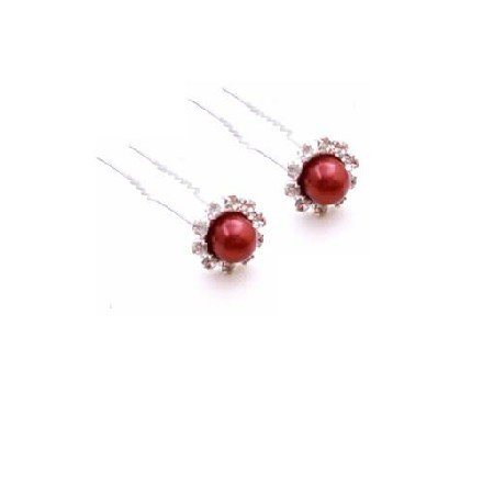 HA572  Red Hair Accessories Wedding Hair Pin Bridal Bridemaids Hair Pin