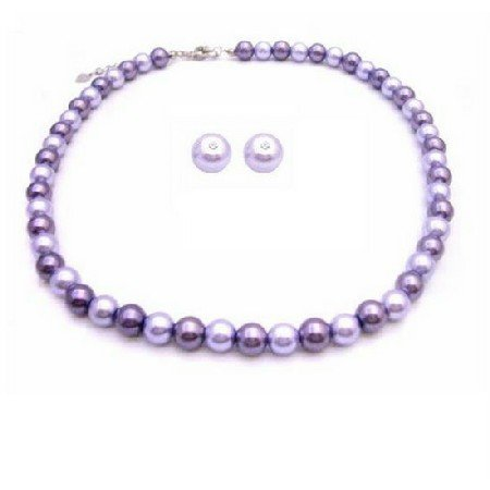NS827  Affordable Inexpensive Pearls Wedding Jewelry Lilac & Purple Stud Earrings Necklace Set