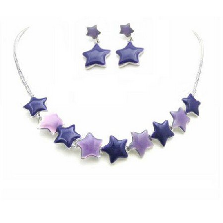 NS858  Birthday Gift Jewelry Set Affordable Stars Pendant & Earrings Set