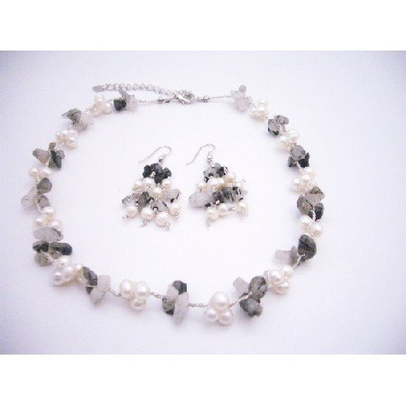 NS861  Onyx Nugget & Freshwater Pearls Necklace Set