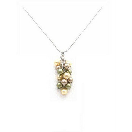 N866  TriColor Swarovski Bronze Olive & Golden Pearls Grape Bunch Pendant Necklace