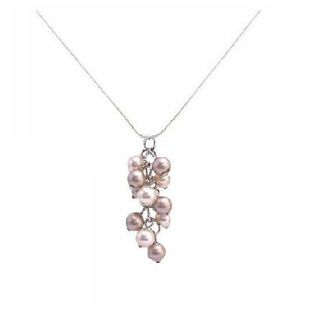 N867  Exclusive Wedding Pearls Pendant Swarovski Ivory & Champagne Grape Bunch Pendant Necklace