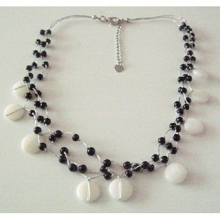N881 Black & White Jewelry White Shells & Black Beads 3 Stranded Beautiful Necklace