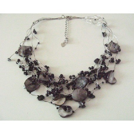N885 Multistranded Black Nugget Shell & Beads Necklace Multi String Black Tone Necklace