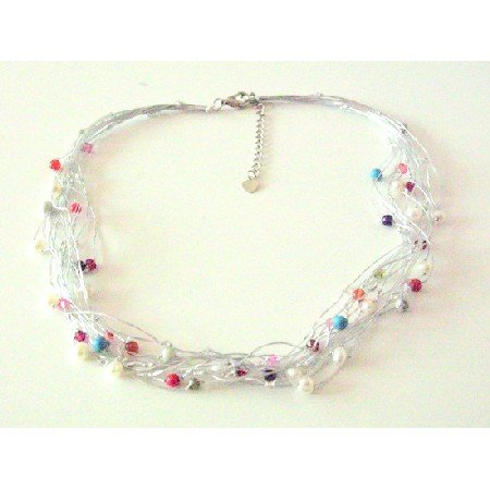 N887 Multicolored Beads Accented In Multi Stranded Silk Thread Exclusively Beautiful Necklace