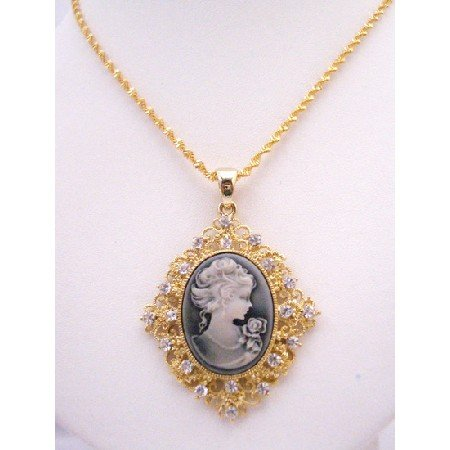 N889  Golden Framed Cameo Pendant Necklace Victorian Cameo Lady Pendant