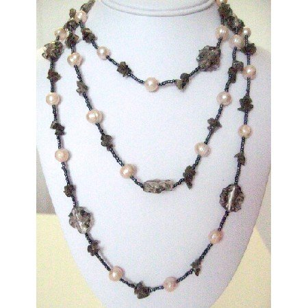N892  Long Necklace Beads Freshwater Pearls Necklace Gift Necklace 30 Inches Necklace