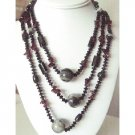 N894  Long Necklace 30 Inches Semi Precious Necklace Onyx Gem Stones Necklace