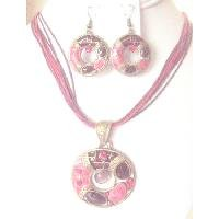 NS272 Round Antique Brass Pendant Earrings Necklace Set Multi Strands Red Jewelry Set